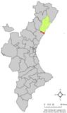 Localización de Almazora respecto a la Comunidad Valenciana