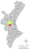 Localización de Dos Aguas respecto a la Comunidad Valenciana