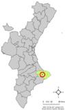 Localización de Murla respecto a la Comunidad Valenciana