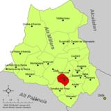 Localización de Fuentes de Ayódar respecto a la comarca del Alto Mijares
