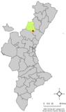Localización de Ayódar respecto a la Comunidad Valenciana