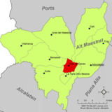 Localización de Villar de Canes respecto a la comarca del Alto Maestrazgo