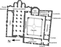 Planta del primitivo monasterio, tal como sería en el siglo XII