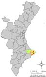 Localización de Senija respecto a la Comunidad Valenciana