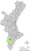 Localización de Elda respecto a la Comunidad Valenciana