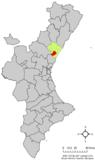 Localización de Vall de Uxó respecto a la Comunidad Valenciana