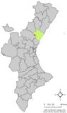 Localización de Ahín respecto a la Comunidad Valenciana