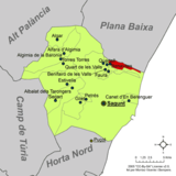 Localización de Benavites respecto a la comarca del Campo de Morvedre