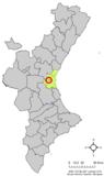 Localización de Alacuás respecto a la Comunidad Valenciana