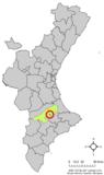 Localización de Carrícola respecto a la Comunidad Valenciana
