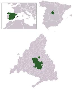 Localización de Madrid respecto a la Comunidad de Madrid, España y Europa