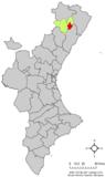 Localización de Albocácer respecto a la Comunidad  Valenciana