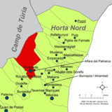 Localización de Montcada respecto a la comarca de la Huerta Norte