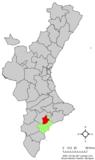 Localización de Jijona respecto a la Comunidad Valenciana
