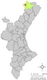 Localización de Todolella respecto a la Comunidad Valenciana.