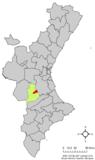 Localización de Navarrés respecto a la Comunidad Valenciana
