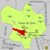Localización de Benaguacil respecto a la comarca del Campo de Turia
