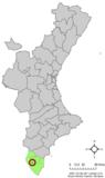Localización de Bigastro respecto a la Comunidad Valenciana