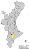 Localización de Bañeres respecto a la Comunidad Valenciana