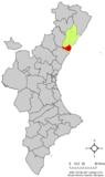 Localización de Castellón de la Plana respecto a la Comunidad Valencia
