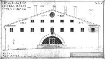 Asplund.Palacio de Justicia del Condado de Lister. Fachada este.jpg