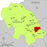 Localización de Almedíjar respecto a la comarca del Alto Palancia
