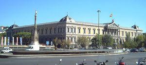 Vista de la sede de la B.N.E. y el M.A.N. desde la Plaza de Colón de Madrid.