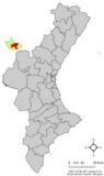 Localización de Ademuz respecto a la Comunidad Valenciana