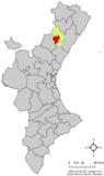 Localización de Lucena respecto a la Comunidad Valenciana