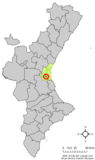 Localización de Alcácer respecto al País Valenciano