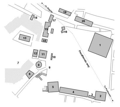 Plano que muestra los edificios principales y estructuras del ágora de Atenas como era en el siglo V a. C.