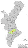 Localización de Albaida respecto a la Comunidad Valenciana
