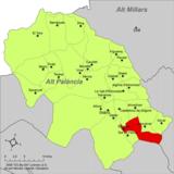 Localización de Soneja respecto a la comarca del Alto Palancia