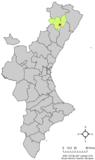 Localización de Villar de Canes respecto a la Comunidad Valenciana