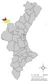 Localización de Castielfabib respecto al País Valenciano