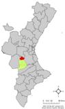 Localización de Millares respecto a la Comunidad Valenciana