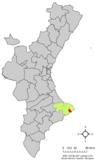 Localización de Teulada respecto a la Comunidad Valenciana