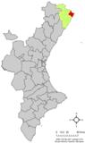 Localización de Vinaroz respecto a la Comunidad Valenciana