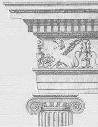 Esquema del orden jónico romano según Vignola