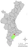 Localización de Agost respecto a la Comunidad Valenciana