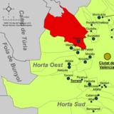 Localització de Paterna respecte de l'Horta Oest