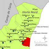 Localización de Alboraya respecto a la comarca de la Huerta Norte