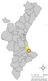 Localización de Beniflá respecto a la Comunidad Valenciana