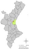 Localización de Localización de la localidad valenciana respecto a la Comunidad Valenciana.