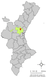 Localización de Olocau respecto al País Valenciano