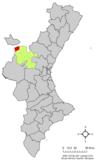 Localización de Aras de los Olmos respecto al País Valenciano