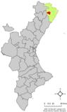 Localización de San Mateo respecto al País Valenciano