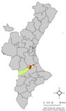 Localización de Játiva respecto a la Comunidad Valenciana