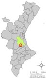 Localización de Benegida respecto al País Valenciano