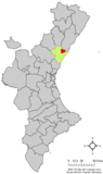 Localización de Villarreal respecto a la Comunidad Valenciana